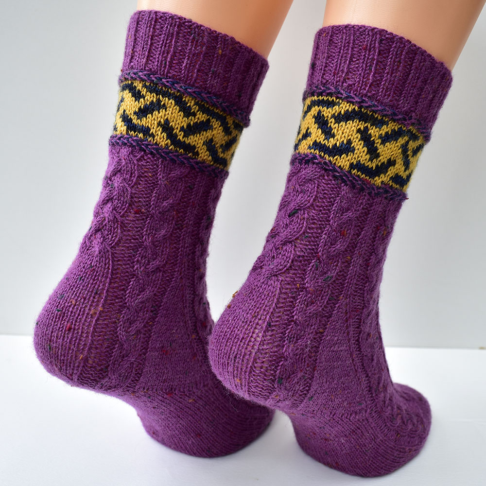 Braidalot cabled socks with latvian braids and stranded colourwork